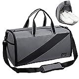 Valleycomfy Sporttasche Anzugtasche Trockene Nassabscheidung Große Kapazität Mit Schuhen Tasche Hand/Schulter/Umhängetasche Fitness Gepäcktaschen, 50L, Generation 3 (Grau)