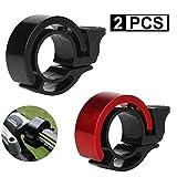 FORMIZON 2 Pack Mini Fahrradklingel, O Design Fahrradglocke Laut, Aluminiumlegierung Innovative Fahrradklingel Lauten Klaren und Hell für 22.2-23.8mm Lenker (Schwarz + Rot)