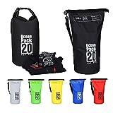 Relaxdays Ocean Pack, 20L, wasserdicht, Packsack, leichter Dry Bag, Trockentasche, Segeln, Ski, Snowboarden, schwarz