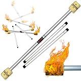 Profi Feuerdevilstick (Fire Devilstick) Feuer Devilsticks/Docht: 65mm Kevlar - inkl. Holz Handstäbe mit 2 mm Super-Grip Silikon! Flamme Devil stick Jonglieren Devilsticks für Anfänger und Profis.