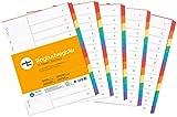 perfect line 5er Pack 12-teiliges DIN-A4 Register farbig (5x12), 22,3 x 29,7 cm, mit Deckblatt, Farb-Trenner aus Karton in 6 Farben, 160 g, perfekte Trenn-Blätter für die Ordner-Organisation im Büro