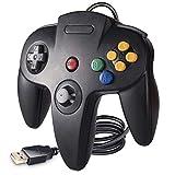 suily Wired USB Controller für N64-Spiele, Classic USB Controller Gamepad Joystick für Windows PC Mac Raspberry Pi 3 (Schwarz)