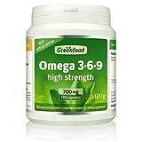 GF Omega 3-6-9, 700 mg, hochdosiert, 120 Kapseln – reich an EPA, DHA. Gut für Herz, Kreislauf und die Cholesterinwerte. OHNE künstliche Zusätze. Ohne Gentechnik.
