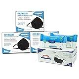 HYGISUN Schutzmasken Set | 18x FFP2 Maske ohne Ventil einzelnverpackt schwarz | 1x 50er Box OP-Masken schwarz |2x Desinfektionstücher Box | Mundschutzmaske | CE zertifiziert nach EN149 NB 2797