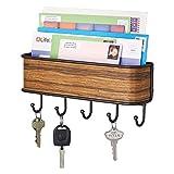 mDesign Schlüsselbrett mit Ablage - vielseitiges Schlüsselboard aus mattem Metall und Palisander-Holz - mit Briefablage für Post oder auch Handys