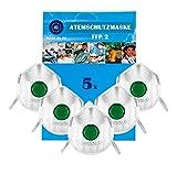 Atemschutzmaske FFP2 NR D mit Ventil 5er | KN 95 | Masken für Mund und Nasenschutz | Premium Atemmaske Perfekt | Anpassbare Mundschutz Maske | Staubschutzmaske, Staubmaske, Feinstaubmaske