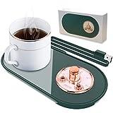 HEYPORK USB Getränkewärmer mit On Off Schalter, Elektrische Kaffeewärmer Pad, Tassenwärmer Geschenk für Kaffee Milch Tee Wasser Büro Hause Kaffeeliebhaber, Grün