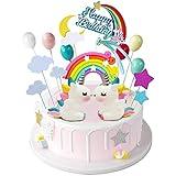iZoeL Tortendeko Geburtstag Einhorn Kuchen Topper Regenbogen Happy Birthday Topper Wolke Sterne Kuchenaufsatz
