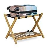 Relaxdays Kofferständer Bambus, klappbar, für Koffer & Reisetaschen, 2 Ablagen, Gepäckablage, HBT 53 x 68 x 47 cm, natur