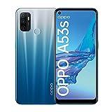 OPPO A53s Smartphone, 90 Hz 6,5 Zoll Display, 5000 mAh Akku + 18W Schnellladen, 13 MP Dreifachkamera, 128 GB Speicher, Dual SIM, Fancy Blue – Deutsche Version