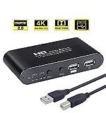 AIMOS HDMI KVM Switch, USB 2 Port Computer Tastatur Maus Umschalter Box Unterstützung 4K @ 30Hz 3D für Laptop, PC, PS4, Xbox HDTV - Mit 2 USB-Kabeln, 1 Netzkabel