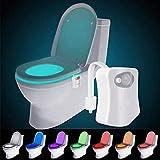 Led Toilettenlicht, WC Nachtlicht für die Kloschüssel, Lustiges Bewegung Sensor Aktiviert Toilette Licht für Toilettensitze, Badezimmerzubehörbeleuchtung, 8 Farben Wechselnde, Geschenke für Kinder