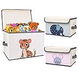 DIMJ Kinder Aufbewahrungsbox, Faltkiste Spielzeugkiste mit Deckel und Griffe, für Bücher, Kleidung, Spielzeug etc (3 Stück, Beige)