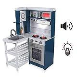 Baby Vivo Kinderküche Spielküche mit Licht und Sound aus Holz Kinderspielküche Küche Holzküche Spielzeugküche - Luis in Marineblau