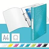 Leitz 42570051 Ringbuch wow, A4, PP, 2 Ringe, 25 mm, eisblau