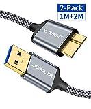 JSAUX Micro USB 3.0 Kabel 1M+2M [2 Pack],USB A Stecker auf Micro B Stecker 3.0 Festplattenkabel für Seagate, Toshiba Canvio, Western Digital(WD)My Passport und Elements, Samsung Galaxy S5, Note 3 Grau