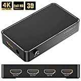 RUMIA HDMI Switch 1 In 4 Out HDMI Splitter Umschalter Unterstützt 4K HD 1080P 3D @60HZ HDMI Verteiler für Firestick,Apple TV,Computer,Xbox,PS4, Blu-Ray DVD Player, Roku, Chromecast, Projektoren usw