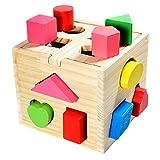 all Kids United Steckwürfel aus Holz-Würfel Lernspielzeug-Puzzle Steckbox für Baby & Kleinkind; Holz-Spielzeug trainiert Motorik; Förderung von Formerkennung und Konzentration