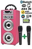 DYNASONIC - Tragbarer Bluetooth-Lautsprecher für Karaoke, 10W, 2 Mikrofone enthalten, Radio, USB und SD Reader, Rosa Farbe