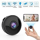 Mini WLAN Kamera Wireless Full HD 1080P mit 6 Infrarot-Licht Nachtsicht Bewegungserkennung App Fernbedienung 150° Weitwinkel unterstützt 128GB SD-Karte
