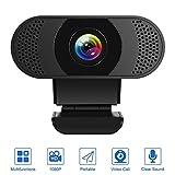 Kaulery HD 1080P Webcam mit Mikrofon Geräuschunterdrückendem PC Laptop Desktop USB Webkamera mit Drehbarem Clip für Videoanrufe,Live-Streaming,Spiele und Konferenzen