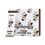 foodspring Veganer Protein Riegel, 12 x 60g, Schokolade Mandel, Veganer Snack mit 100% pflanzlichem Eiweiß