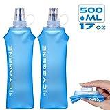 CybGene Faltbare Trinkflasche 500ml, Sportflasche TPU Trinkflasche Fahrrad,BPA-Frei,FDA Zugelassen,Langlebig,Geschmacksneutral, Wasserbehälter zum Wandern,Joggen,Camping und Klettern(Packung mit 2)