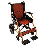 Mobiclinic, Faltrollstuhl, Modell Pirámide, feste Armlehnen, Aluminium, Schwarz-Orange, zusammenklappbarer, tragbarer Transit-Rollstuhl, Sitzbreite 46 cm