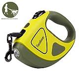 Readaeer Hundeleine automatische einziehbare Leine/Rollleine aus Nylon mit LED Taschenlampe für klein-mittel Haustier bis 50 KG (5M, Grün)