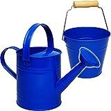 2 TLG. Set: Kleiner - Eimer + Gießkanne - Metall - blau - 1,5 Liter - Blech Kindereimer Blecheimer / Metalleimer Sandeimer / Kindereimer Garteneimer - Pflanze..