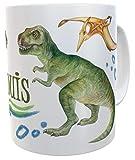 Tasse T-Rex mit Name, Becher für echte Dinofans Kindertasse Dinosaurier Mug Geburtstag lustiger Spruch inkl. Geschenkverpackung (Kunststoff)
