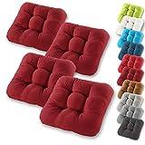 Gräfenstayn® 4er-Set Sitzkissen 40x40x8cm aus 100% Baumwolle (Bezug) mit Öko-Tex Siegel in vielen Farben, für Indoor und Outdoor mit dicker Polsterung (Bordeaux)