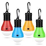 Molbory Camping LED Campinglampe mit Karabiner Camping Lantern 4 StückeTragbare Zeltlampe Glühbirne Set Camping Lampen Wasserdicht Rucksack Licht für Abenteuer, AngelnNotfall, Stromausfal