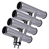 AMYSPORTS Rutenhalter Edelstahlständer auf Angelrutenhalter für Schienen 3/4' bis 1' 19mm bis 25mm (4pcs Rutenhalter)