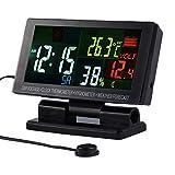 Proster Digital Auto Thermometer Bunt LCD Bildschirm mit Feuchtigkeit Funktion und Wecker Automotive Elektronische Thermometer Hygrometer Uhr Wetter Temperatur Spannungsalarm Indoor für Fahrzeuge KFZ