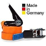 2er Set KFI Cargo Control qualitätsgeprüfte Spanngurte mit Ratsche | Länge: 4 m | Ratschengurt einteilig nach EN 12195-2 | Zurrgurte 400/800 kg