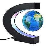 Magnetisch schwebender Globus, drehbare Weltkarte mit LED-Lichtern, Erdkugel für Schreibtischdekoration, Weihnachts- und Geburtstagsgeschenk (UK-Stecker, blau) C-Typ blau