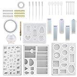 76 Stücke Harz Formen DIY Klar Silikon Epoxidharz Formen für Anhänger Schmuck Machen DIY Handwerk mit Gießformen Werkzeuge Set