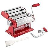 bremermann Nudelmaschine Edelstahl/Metall rot - für Spaghetti, Pasta und Lasagne (7 Stufen), Pastamaschine, Pastamaker