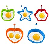 Spiegelei Form 5 STÜCKE Verschiedene Formen, Silikon Ei Ring 4 Farben Verschiedene Formen, Antihaft Pfannkuchen Former Form Mit Griffen
