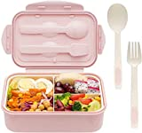 Sinwind Bento Box, Lunchbox, Brotdose Kinder, Auslaufsichere Brotzeitbox, Lunchbox mit 3 Fächern und Besteck, Vesperdose Mikrowelle Heizung (Pink)