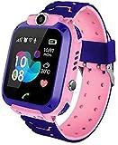 Smartwatch Kinder GPS Tracker Kinderuhr Mädchen Digital Smart Watch Kinder GPS Uhr Kinder Telefonieren Smartwatch Kinder Telefon Rosa Wasserdicht Pink Deutsch Kinder Handyuhr mit Ortung (Q12 GPS pink)