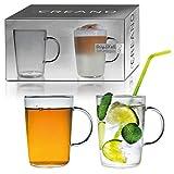 Creano 2er-Set Design Gläser, Becher mit Henkel für Kaffee, Tee und alle Kaltgetränke   400ml im Geschenkkarton