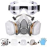 Atemschutzmaske Gasmaske mit Doppelfilterpatronen,Halbmaske mit Schutzbrille,Ultimativer Atemschutz & Tragekomfort,Für Staub, Schutz Geruchsminderung für Sprüh,Sanierungs,Lackier und Schleifarbeiten