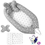 4in1 Set 85x50 cm Babynestchen Kokon Babynest Kuschelnest Baby Decke Kopfkissen Entdeckerwürfel Handmade aus Zertifizierte Materialien ekmTRADE (0104)
