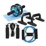 TOMSHOO 5-in-1 Fitness Geräte, AB Roller Bauchtrainer mit Liegestützgriffe, Springseil und Rutschfester Kniematte Fitness Geräte für Zuhause -Tragbare Geräte für Heimtraining Muskelkraft Fitness