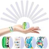 Joyibay Schnapparmbänder Kinder, 48 STÜCKE Weiß DIY Slap Armband für Kinder Partei Dekorative Slap Band Klatscharmband Schlag Armband Slap Bracelet für Kinder, Party, Geburtstagsgeschenk