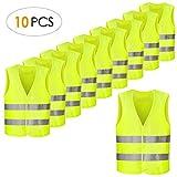 FEMOR 10PCS Warnwesten, 360 Grad Reflektierende Sicherheitswesten, Pannenwesten für Auto, Fahrrad, Waschbar, Knitterfrei(XXXL,70x 46cm,Gelb)