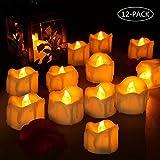 LED Kerzen, laxikoo 12 LED Flammenlose Teelichter, Flackern Kerzen, Elektrische Kerze Lichter Perfekt für Weihnachtsbaum Ostern Hochzeit Party (Batterien Enthalten)