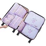 quanju cheer 7 Stück wasserdichte Reisetasche mit Reißverschluss für Kleidung Unterwäsche Make-up Aufbewahrung Zuhause tägliche Notwendigkeiten Purple Cherry